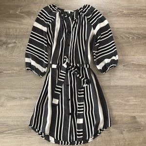 Striped Belted Tunic Dress